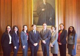 Yale Law Students in 2017, including Lynsey (first on left), Allison (second from left) and Greg (fourth from left). Photo was taken during a NALSA trip to the Supreme Court in March. Additional NALSA members include, from left to right, Taylor Jones, Robin Tipps, Becca Loomis, Chelsea Colwyn, and Shannon Prince.