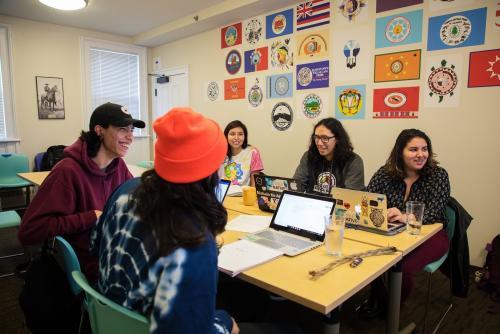 The Lakȟóta language class meets twice a week at the NACC. Photo by Robbie Short.
