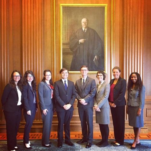 Yale Law Students in 2017, including Allison (second from left) and Greg (fourth from left). Photo was taken during a NALSA trip to the Supreme Court in March. Additional NALSA members include, from left to right, Taylor Jones, Robin Tipps, Becca Loomis, Chelsea Colwyn, and Shannon Prince.