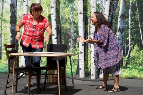 "Photo by Tiana LaPointe featuring Deanna Standingcloud and Delinda ""Oogie""Pushetonequa in ""Stolen Generation"" by Ardie Medina part of NNT's 2016 Summer Tour"