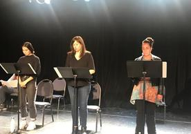 Kinsale Hueston, Allison Hicks, and Sarah D'Angelo perform in Tara Moses' He'eo'o.