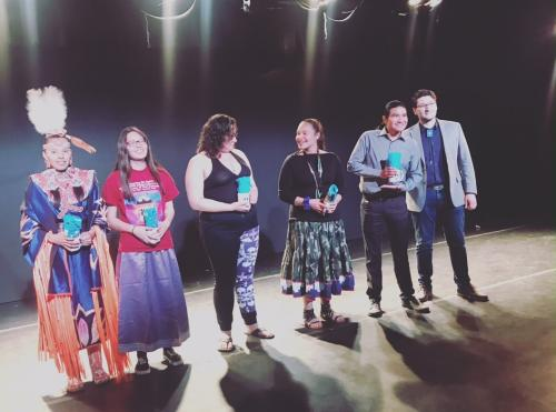 The winners of the Third Annual Yale Young Native Storyteller Contest (from left to right): Charlize Arcoren (Sicangu Lakota), Teanna Hart (Sicangu Lakota), Zooey White (Ogalala Lakota), Vonica LaPlante (MHA Nation), Everett George (Fallon Paiute Shoshone Tribe), and YIPAP's Associate Director Reed Adair Bobroff (Navajo Nation).